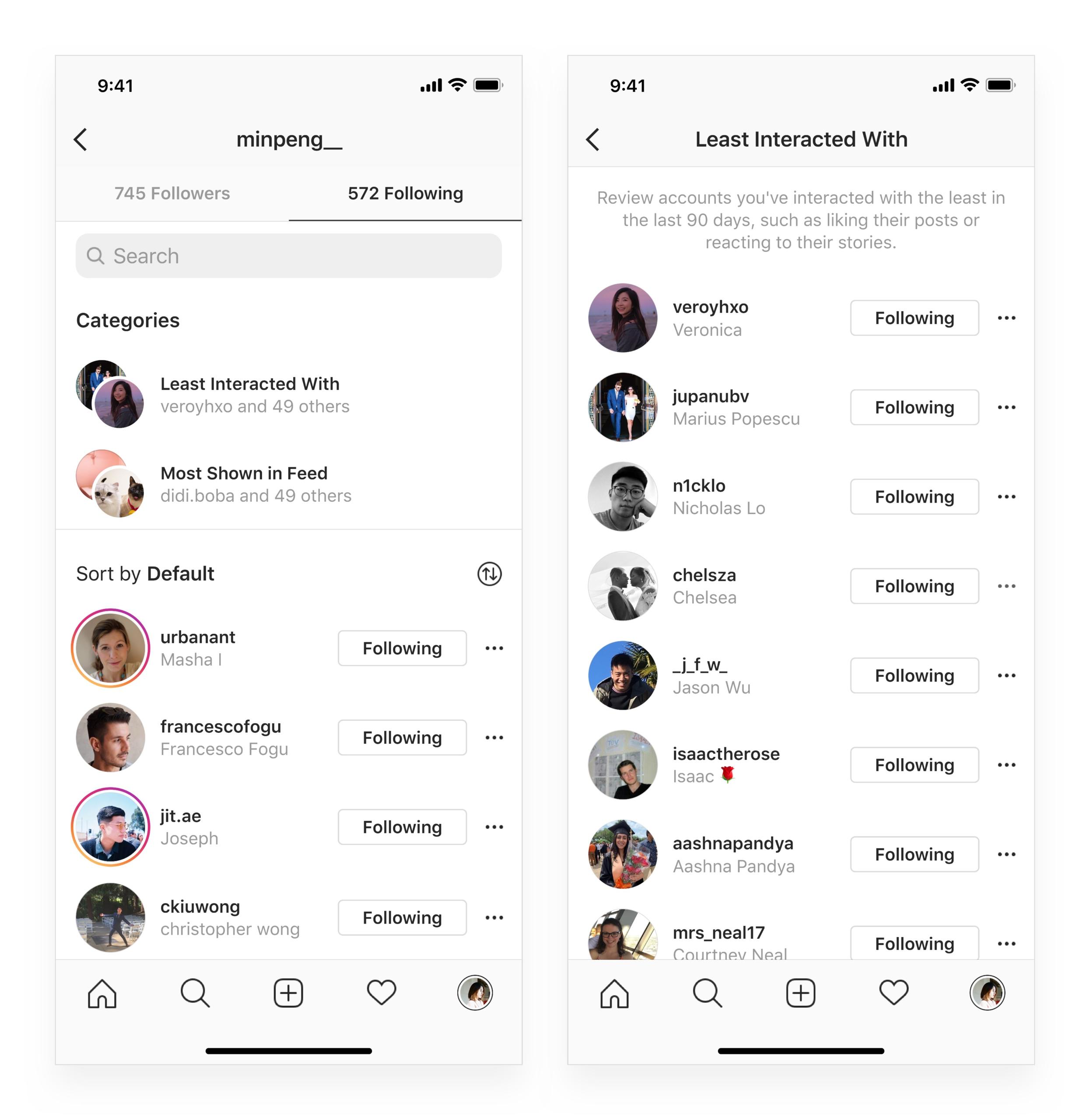 Nová kategorizácia interakcií - Instagram